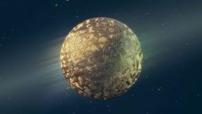 Rappresentazione dorata della sfera 3d del nastro metallico Fotografia Stock