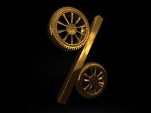 Rappresentazione dorata di vendita 3d della ruota dell'automobile Immagine Stock Libera da Diritti