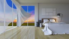 rappresentazione 3ds della camera da letto moderna nel tempo di tramonto immagine stock libera da diritti