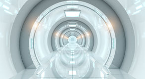 Rappresentazione futuristica luminosa del corridoio 3D dell'astronave Fotografie Stock Libere da Diritti