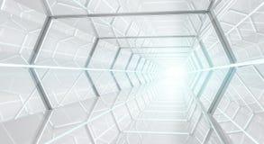 Rappresentazione futuristica luminosa del corridoio 3D dell'astronave Fotografia Stock
