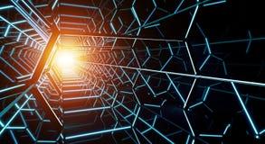 Rappresentazione futuristica scura del corridoio 3D dell'astronave Fotografie Stock Libere da Diritti