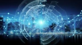 Rappresentazione globale di visione del mondo 3D del sistema dei collegamenti Immagini Stock Libere da Diritti