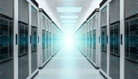 Rappresentazione interna 3D del centro dati della stanza del server Fotografia Stock Libera da Diritti