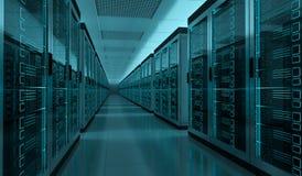 Rappresentazione interna 3D del centro dati della stanza del server Immagini Stock Libere da Diritti