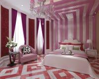 Rappresentazione interna 3D della camera da letto Immagine Stock