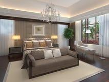 Rappresentazione interna 3D della camera da letto Fotografia Stock Libera da Diritti