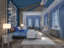 Rappresentazione interna 3D della camera da letto Fotografie Stock Libere da Diritti