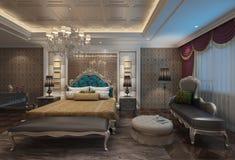 Rappresentazione interna 3D della camera da letto Fotografie Stock