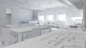 rappresentazione interna 3D di un sottotetto minuscolo fotografia stock