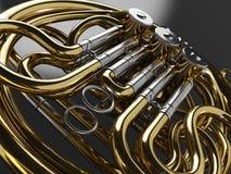 Rappresentazione invecchiata del corno francese 3D Fotografie Stock