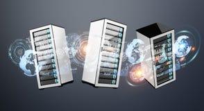 Rappresentazione l'un l'altro collegata centro dati 3D della stanza del server Immagini Stock