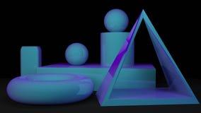 Rappresentazione minima 3d di scena geometrica di forma Fotografia Stock Libera da Diritti