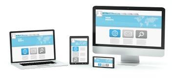 Rappresentazione moderna del telefono cellulare e della compressa 3D del computer portatile del computer Immagini Stock