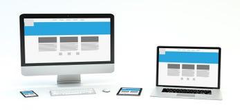 Rappresentazione moderna del telefono cellulare e della compressa 3D del computer portatile del computer Immagine Stock