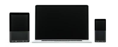 Rappresentazione moderna del telefono cellulare e della compressa 3D del computer portatile del computer Fotografia Stock Libera da Diritti