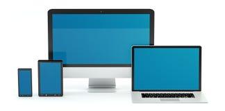 Rappresentazione moderna del telefono cellulare e della compressa 3D del computer portatile del computer Fotografie Stock Libere da Diritti