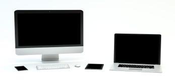 Rappresentazione moderna del telefono cellulare e della compressa 3D del computer portatile del computer Fotografie Stock