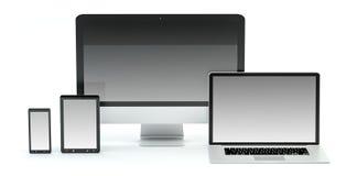 Rappresentazione moderna del telefono cellulare e della compressa 3D del computer portatile del computer Fotografia Stock