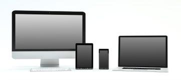 Rappresentazione moderna del telefono cellulare e della compressa 3D del computer portatile del computer illustrazione vettoriale