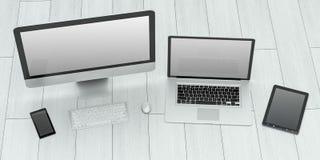 Rappresentazione moderna del telefono cellulare e della compressa 3D del computer portatile del computer illustrazione di stock