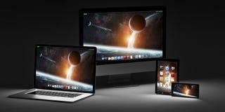 Rappresentazione moderna scura del telefono cellulare e della compressa 3D del computer portatile del computer Immagine Stock