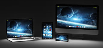 Rappresentazione moderna scura del telefono cellulare e della compressa 3D del computer portatile del computer Fotografia Stock