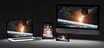 Rappresentazione moderna scura del telefono cellulare e della compressa 3D del computer portatile del computer Immagine Stock Libera da Diritti