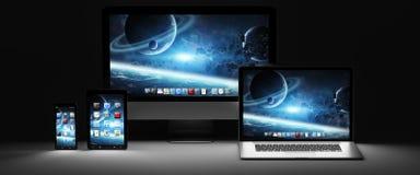 Rappresentazione moderna scura del telefono cellulare e della compressa 3D del computer portatile del computer Fotografia Stock Libera da Diritti