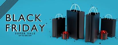 Rappresentazione nera dell'insegna 3d di vendita di venerdì illustrazione di stock
