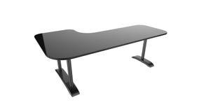 Rappresentazione nera della tavola 3d dell'ufficio isolata su un fondo bianco Immagini Stock