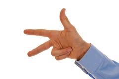 Rappresentazione numero maschio tre della mano Fotografia Stock