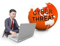 Rappresentazione online di protezione 3d di protezione dalle minacce cyber illustrazione di stock
