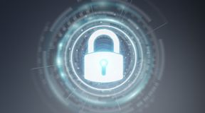Rappresentazione proteggente di dati 3D dell'interfaccia di sicurezza del lucchetto illustrazione di stock