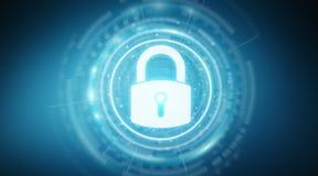 Rappresentazione proteggente di dati 3D dell'interfaccia di sicurezza del lucchetto Fotografia Stock Libera da Diritti