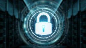 Rappresentazione proteggente di dati 3D dell'interfaccia di sicurezza del lucchetto Immagine Stock Libera da Diritti