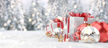 Rappresentazione rossa del fondo 3D delle bagattelle e dei regali di natale illustrazione vettoriale