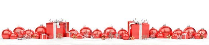 Rappresentazione rossa del fondo 3D delle bagattelle e dei regali di natale royalty illustrazione gratis