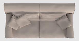 Rappresentazione Sofa Top View On White Fotografie Stock Libere da Diritti