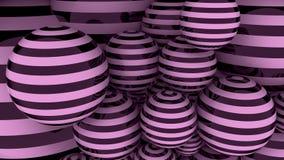 Rappresentazione a strisce delle palle 3D del nero e di rosa Immagine Stock