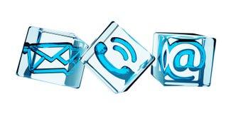 Rappresentazione trasparente dell'icona 3D del contatto del cubo Immagine Stock