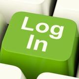 Rappresentazione verde Access ed entrare del tasto del computer di connessione Fotografia Stock