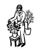 Rappresenti il disegno di un uomo anziano con i vetri che innaffiano i fiori in vasi da un giardino Fotografie Stock