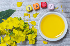 Raps in german canola with blossom and oil concept on gray woo. D Royalty Free Stock Photo