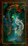 Rapsodia di notte Ritratto di bella ragazza che gioca su un tubo alla notte Pittura a olio su legno royalty illustrazione gratis
