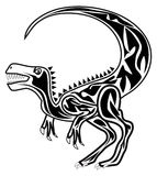 Raptor. Tattoo of black and white Velociraptor Royalty Free Stock Photos