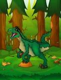 Raptor on the background of forest vector illustration