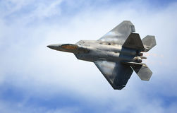 Raptor in Flight. The military Raptor aircraft in flight,t top view Royalty Free Stock Image