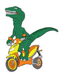 Raptor riding  a scooter. Royalty Free Stock Image