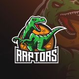 Raptor vector mascot logo design with modern illustration concept style for badge, emblem and tshirt printing. angry dinosaur stock illustration